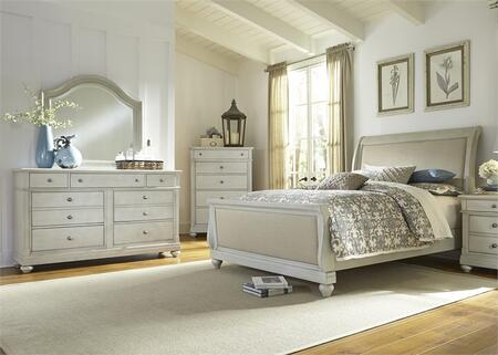 Harbor View III Collection 731-BR-KSLDMC 4-Piece Bedroom Set with King Sleigh Bed  Dresser  Mirror and Chest in Dove Gray