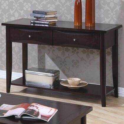 700969 Whitehall Sofa Table with Large Lower Shelf  Two Storage Drawers  Metal Knobs  Straight Edges and Smooth Tops in Cappuccino