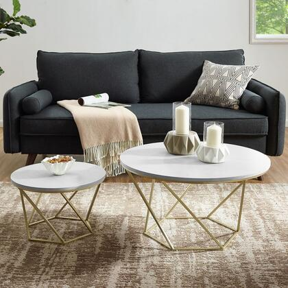 AF28CLRGMG Modern Bohemian Geometric Glass Nesting Coffee Table Set in White Marble /