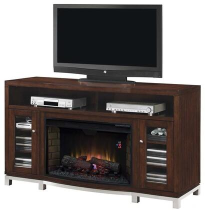 32MM6449-C247 Wesleyan Infrared Electric Fireplace Media Console with Beveled Glass Doors  Adjustable Wood Shelves and Brushed Stainless Steel Hardware in
