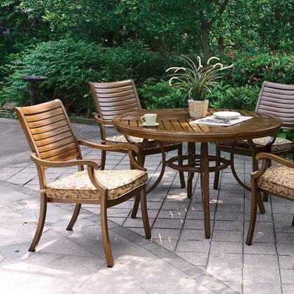 Desiree CM-OT2126-RT Round Patio Dining Table with Contemporary Style  Slatted Table Top  Umbrella Ready Patio Table  Aluminum Frame in Brown