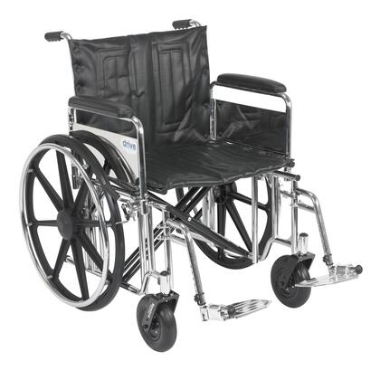 std22dfa-sf Sentra Extra Heavy Duty Wheelchair  Detachable Full Arms  Swing Away Footrests  22