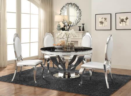 Anchorage Collection 1078914SC 5-Piece Dining Room Set with Round Dining Table and 4 Side Chairs in Chrome and