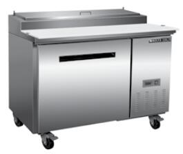 MXCPP50  Undercounter Refrigerator and Pizza Preparation Table with 12 cu. ft. Capacity  4 Casters  Self Contained  Automatic Defrost  Forced Air Refrigeration