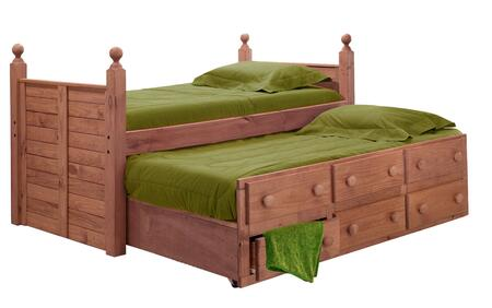 31950-T Twin Panel Post Bed with Twin Trundle Unit Mahogany