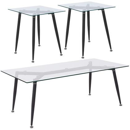 Chetnut Hill Collection HG-CEK-6-GG 3 Piece Coffee And End Table Set With Glass Tops And Sleek Matte Black Metal