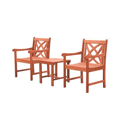 Malibu Collection V1802SET6 3-Piece Outdoor Patio Dining Set with Two Armchairs and Side Table in Natural Wood