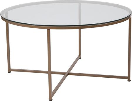 NAN-JH-1786CT-GG Greenwich Collection Glass Coffee Table with Matte Gold