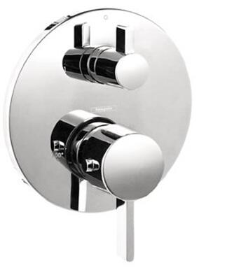 4230820 Double Handle Thermostatic Valve Trim with Volume Control and Metal Lever Handles: Brushed