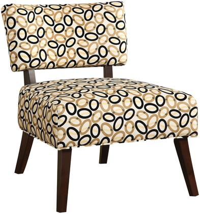 Able Collection 59073 29 inch  Armless Accent Chair with Multi Color Oval Pattern  Wooden Tapered Legs and Polyester Upholstery in Espresso
