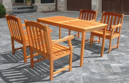 V98SET27 Outdoor Wood Balthazar Rectangular Table and 4 V211 Outdoor Wood Ward Series