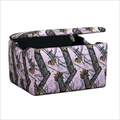 14001RTP Sm Small Upholstered Storage Box with Air Holes  Lifting Tab and Safety Hinge: Real Tree