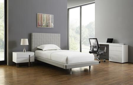 Zack Collection CBC1301FGSET 4 PC Bedroom Set with Light Grey Eco-Leather Upholstered Full Size Bed  Light Grey Fabric Office Chair  High Gloss White Lacquer