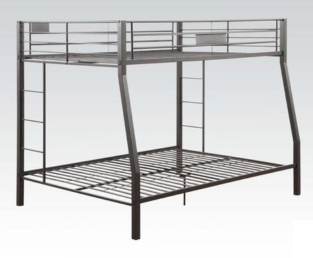 Limbra Collection 38005 Full XL Over Queen Size Bunk Bed with Slat System Included  Built-in Side Ladder  Full Length Guardrail and Sturdy Metal Construction