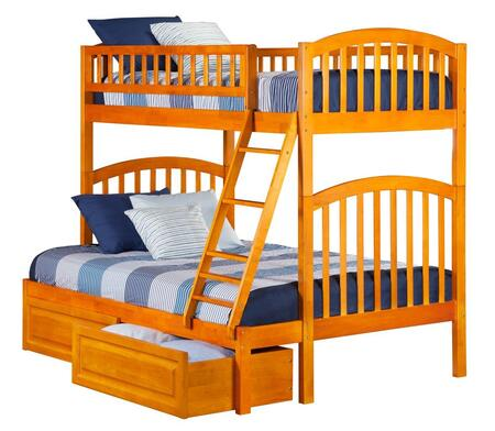 Richland AB64227 Twin Over Full Bunk Bed With Raised Panel Bed Drawers In Caramel