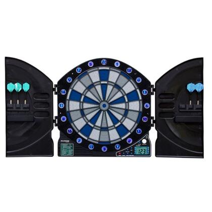 ILM300 Illuminator 3.0 Dartboard Cabinet and E-Bristle 13.5 inch  Board Set with Six Soft Tip Darts  Extra Tips  Mounting Hardware  Game Instructions  and Operating