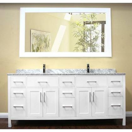 DEC088-W London 78 inch  Double Sink  Vanity Set in