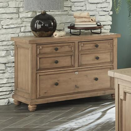 Florence Collection 801644 43 inch  File Cabinet with 3 Drawers  Lockable Bottom Drawer  Bun Feet  Metal Hardware and Architectural Design in Rustic Smoke