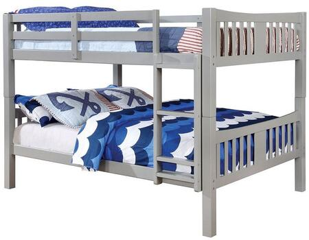 Cameron Collection CM-BK929F-GY-BED Full Size Bunk Bed with 10 PC Slats Top/Bottom  Front Access Fixed Ladder  Solid Wood and Wood Veneer Construction in Grey