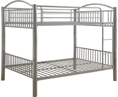 Cayelynn Collection 37390SI Full Over Full Size Bed with Built-in Front Ladder  Easy Access Guard-Rail  Slatted Panels  Slat System Included and Metal Tube
