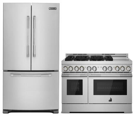 2-Piece Kitchen Package with JFC2089BEP 36 inch  French Door Refrigerator and JGRP548WP 48 inch  Freestanding Gas Range in Stainless