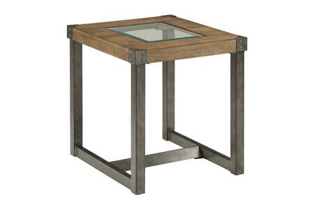 Freemont Collection 965-3  End Table with Squared Metal Legs and Beveled Glass Insert in