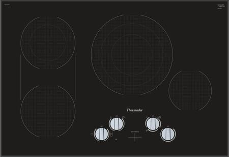 CEM305TB 30 inch  Electric Cooktop with 4 Elements  Dual Zone Bridge  Triple Zone Center  Variable 9 Stage Power Setting  Stainless Steel Metal Knob  and Hot