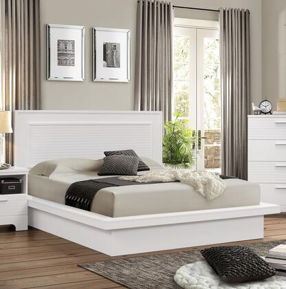 Moderno Collection Queen Size Platform Bed with Low Profile Footboard  High Headboard and Wood Frame Construction in White