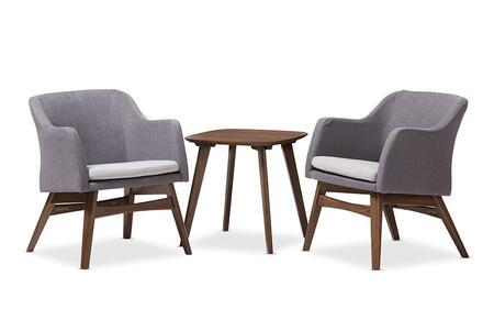 VERA-DARK-GREY/WALNUT 3PC SET Baxton Studio Vera Mid-Century Modern 3-Piece Lounge Chair and Side Table
