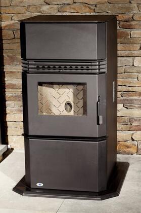 HRK-FS Kinderhook Fireplace With 49 000 BTUS  Ash Drawer  Digital Controls  Interior Steel Brick  Electric Igniter & Integrated Hearth Pad in Dark Grey