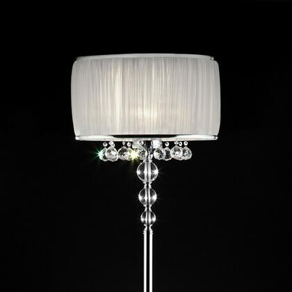 Chloe L95139F Floor Lamp with Chrome base  Pleated white oval shade with chrom trim  Shade:18