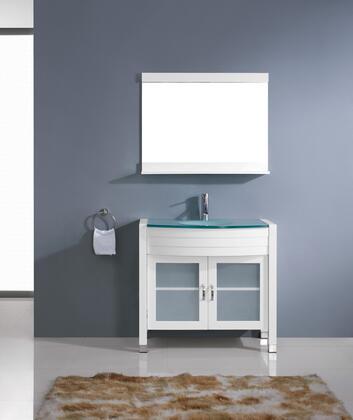 UM-3071-G-WH-001 Modern 36 Single Sink Bathroom Vanity Set White w/Brushed Nickel