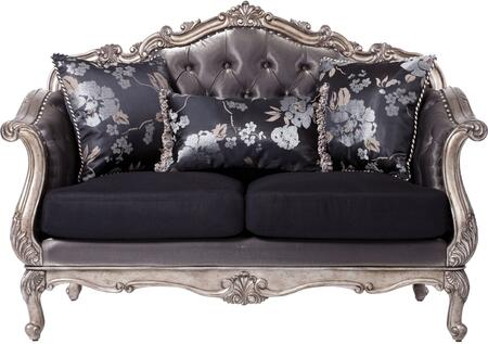 51541 Chantelle Loveseat with 3 Silk Like Pillows  Tight Button Tufted Back  Loose Cushion and Fabric Upholstery in Antique