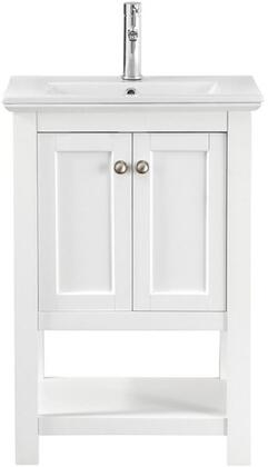 Manchester Collection FCB2304WH-I 24 inch  Vanity with 2 Soft Closing Doors  Brushed Nickel Door Handles  Integrated Ceramic Sink and Solid Wood Construction in
