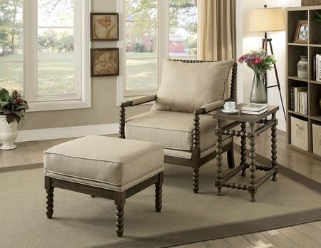 Tarragona Collection CM-AC6165-3PC 3-Piece Accent Set with Chair  Ottoman and Side Table in Beige and