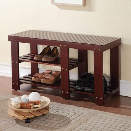 Roy Collection 98168 35 inch  Bench with 2 Shelves  Slat Style and Pine Wood Construction in Dark Walnut