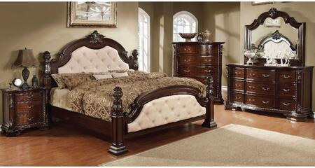 Monte Vista I Collection CM7296LACKDMCN 5-Piece Bedroom Set with California King Bed  Dresser  Mirror  Chest and Nightstand in Brown Cherry