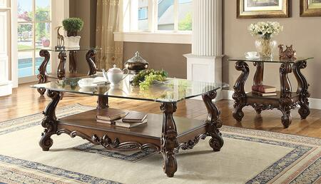 Versailles Collection 82080EC 3 PC Living Room Table Set with Coffee Table + 2 End Tables in Cherry Oak