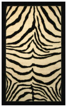 970018 Conteporary Rug in Black Animal Print Zebra Stripes by Coaster