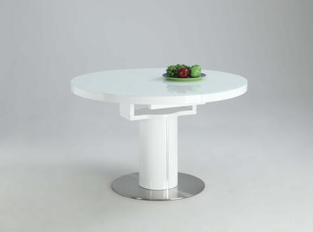 NORA-DT-WHT NORA DINING Gloss White Round Wooden Dining Table Top with Selfstoring Butterfly
