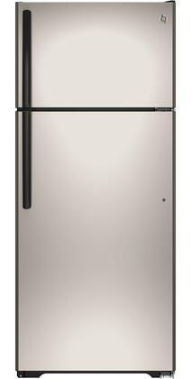 GIE18GCHSA 17.5 cu. ft. Energy Star Top-Freezer Refrigerator with Upfront Temperature Controls  Adjustable Spillproof Glass Shelves  Icemaker and