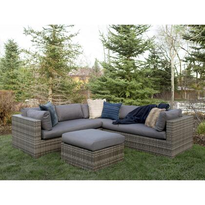 OR4SCGY 4-Piece Gray Multi-Shade Rattan Sectional with Cushions in