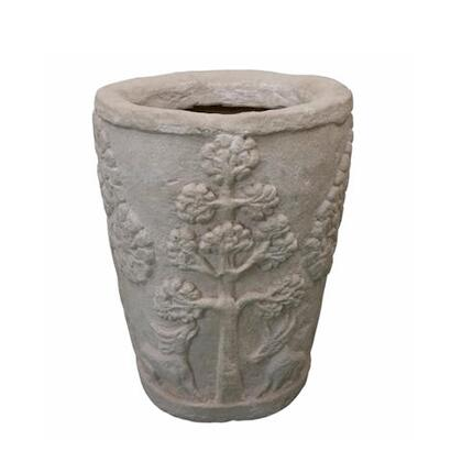 Amazon Collection PL-R1620 16 Round Planter with Cast Limestone Construction and Ancient Design in Natural