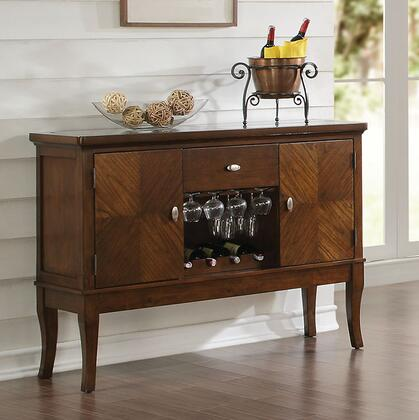 Belinda Collection 71698 52 inch  Server with 1 Drawer  2 Doors  5mm Tempered Glass Insert  Wine Rack  Stemware Rack  Rubberwood and Cashew Wood Construction in