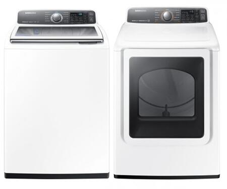 "White Laundy Pair With WA48J7700AW 27"""" Top Load Washer and DV48J7700GW 27"""" Gas"" 729687"