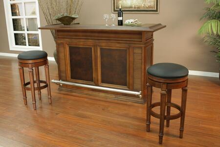 "Sonata Series 713600-I 74"" Bar Set Includes Bar and Two Oxford Bar Stools in a Suede Finish with Black Vinyl Stool"