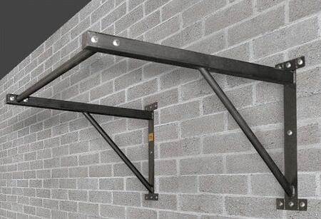 XM-100-PULLUP 45 inch  Wide Wall Mounted Chin Up Bar with 7 Hole Bolt Pattern on Each Bracket  Two Support Brackets and Metal Construction  in Textured Matte Powder