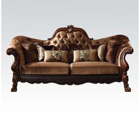 Dresden Collection 52095 95 inch  Sofa with Toss Pillow Included  Removable Seat Cushions  Scrolled Crown Trim  Velvet Upholstery  Aspen and Poplar Wood