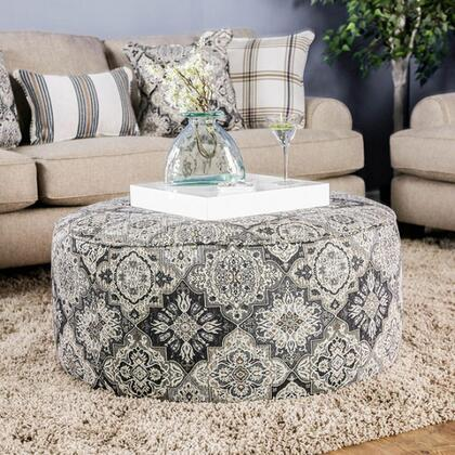 Bernadette SM8200-OT Ottoman with Solid Wood Frame  Piped Stitching and Fabric Upholstery in