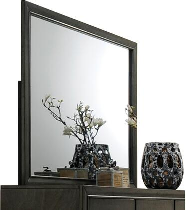 Carine Collection 26264 45 inch  x 35 inch  Mirror with Rectangle Shape  Contemporary Styling and Solid Rubberwood Materials in Grey